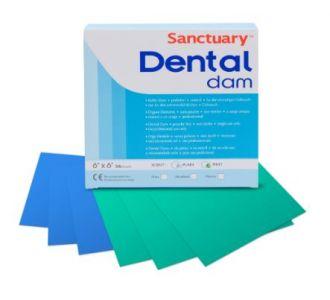 Листы для коффердама Sanctuary синие средние без запаха, 152х152мм, 36шт