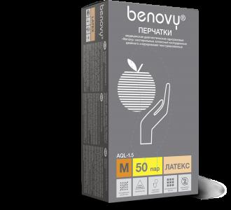 Перчатки BENOVY Dental Formula Double Chlorinated  латексные светло-желтые, L, 100шт, Benovy