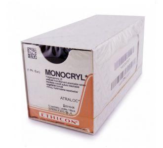 Монокрил Плюс 5/0 Johnson&Johnson, игла обратно-режущая 16мм, окружность 3/8, неокрашенная нить, 70см, 36шт